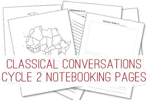 Classical Conversations Cycle 2 Notebooking Pages and links to other notebooking ideas