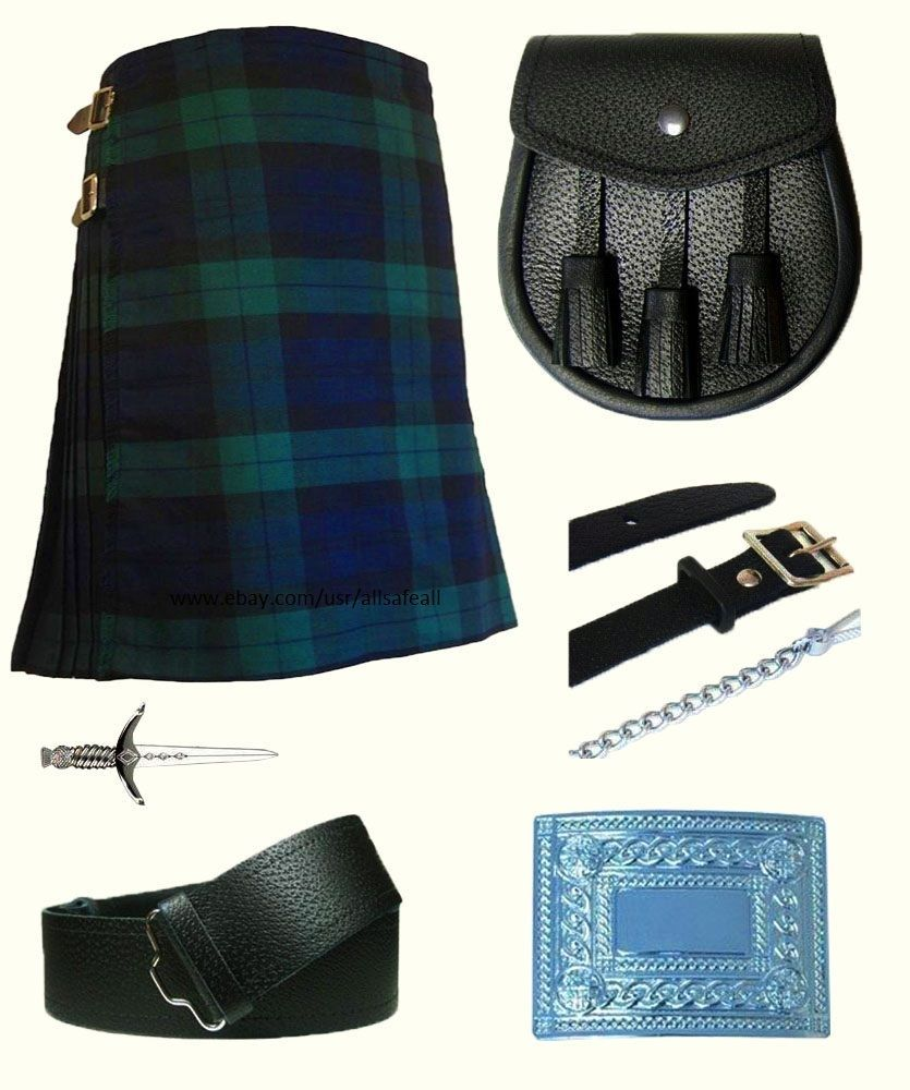 Scottish Traditional Tartan Kilt With Free Shipping and 9 Accessories