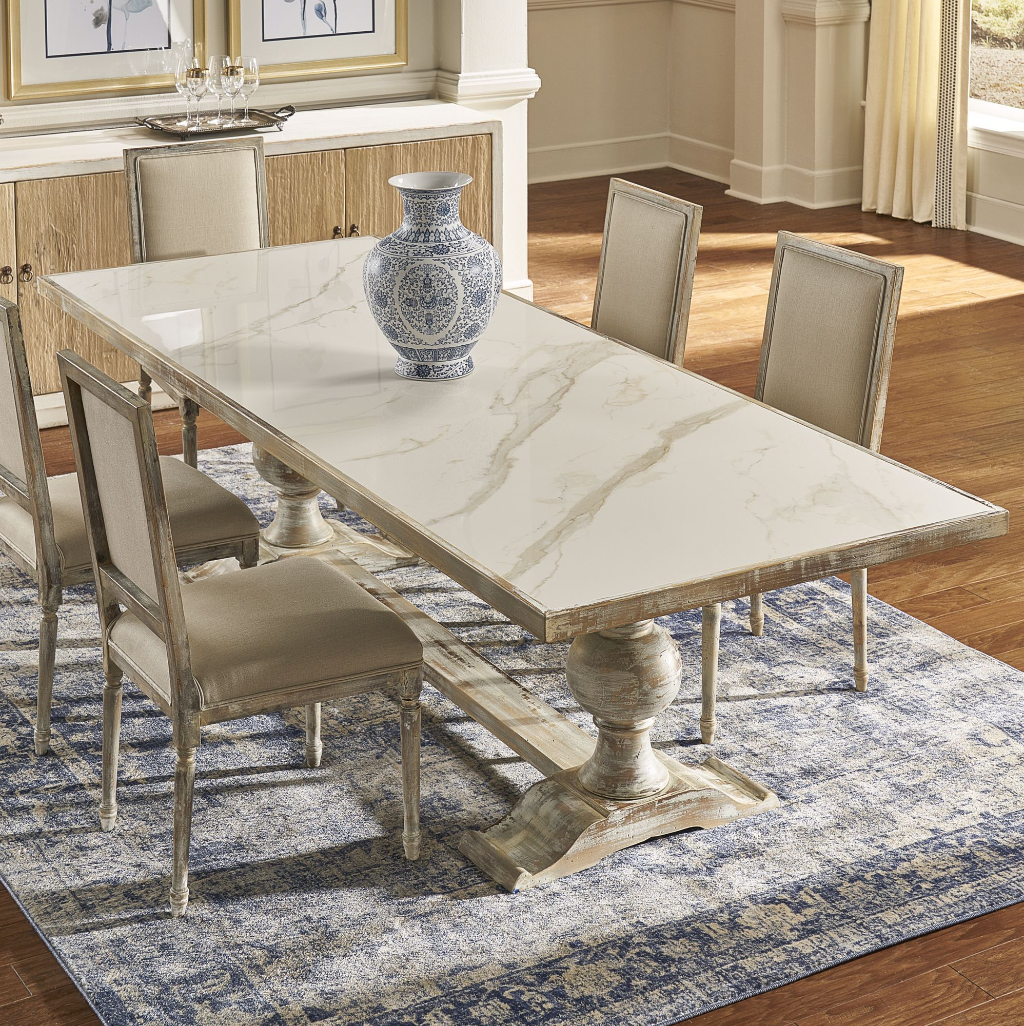 This Beautiful Trestle Base Table In Grey Oak Finish With A Porcelain Top Fashioned To Resemble Marble Dining Table Rectangular Dining Table Trestle Base Table