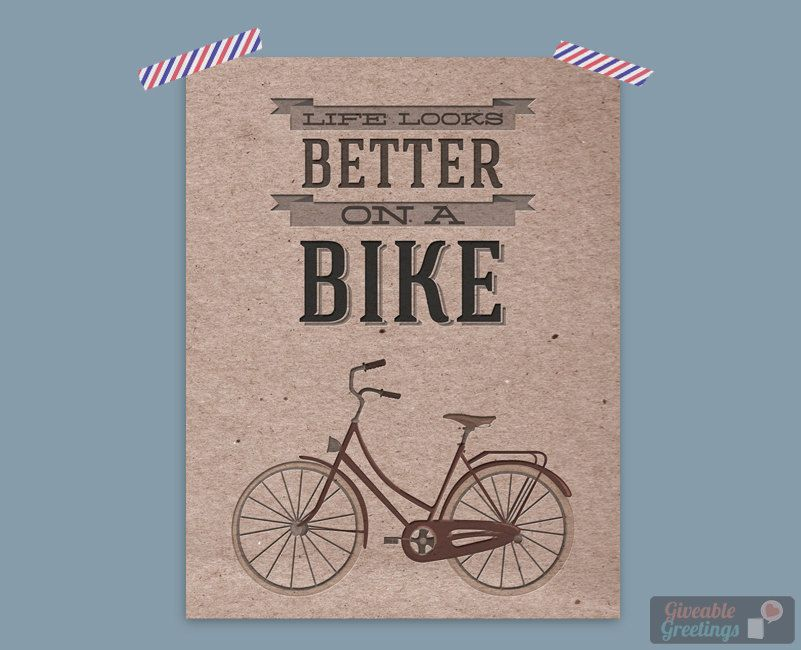 Life Looks Better On A Bike - Graphic Art Print - 8x10 Heavy Cardstock - Room Decor Poster. $9.99, via Etsy.