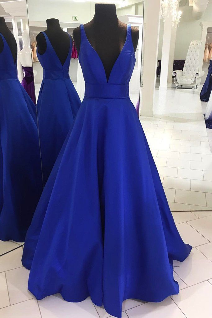 Spring royal blue satin V neck floor length halter graduation dress, long customize evening dress - Homecoming / Prom -