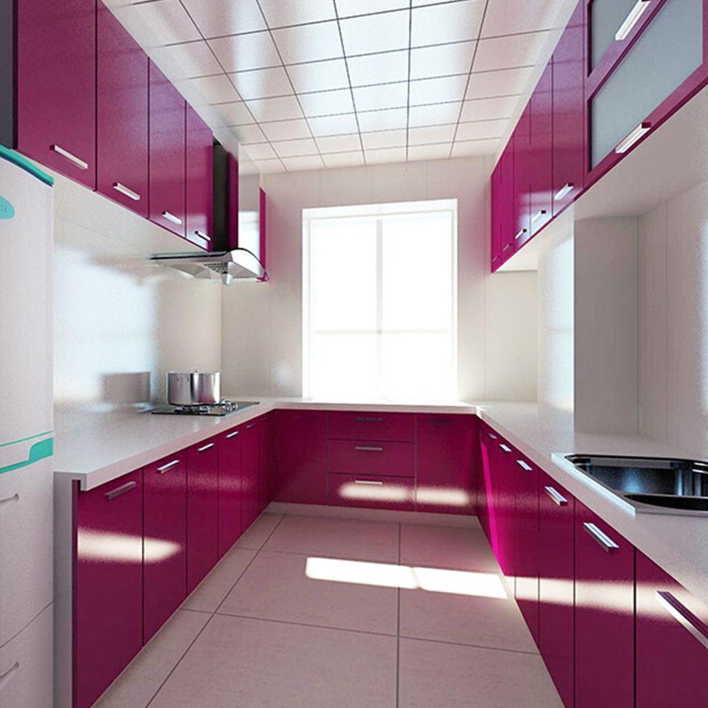 Yazi Pvc Plastic Gloss Waterproof Purple Self Adhesive Sticker Kitchen Cupboard Door Furniture Cover Wa Purple Kitchen Cupboards Kitchen Cabinets Kitchen Units
