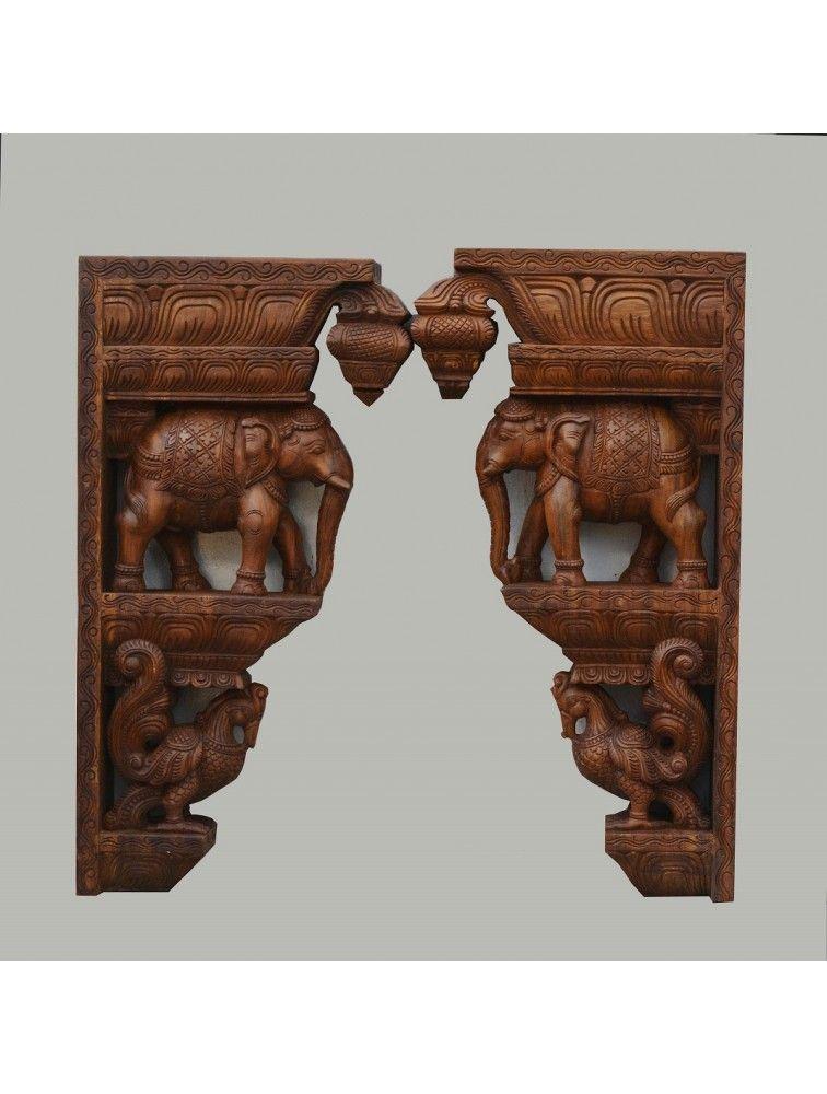 Elephant With Hamsa Wooden Wall Mount Brackets Home Entrance Decor House Main Door Design Door Design Wood