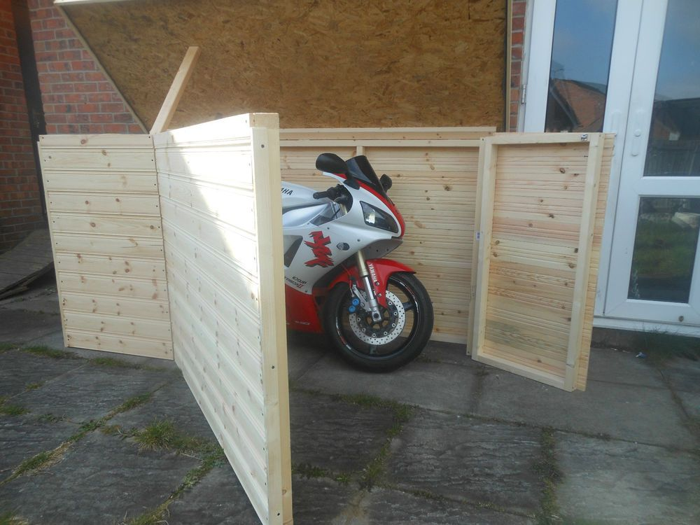Motorcycle Shed I Could Add A Roof And This Might Be Just The Thing Motorcycle Garage Motorcycle Shed Motorcycle Storage Shed
