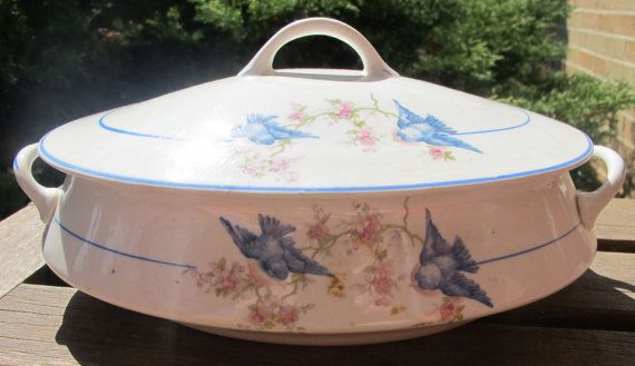 Beautiful Steubenville China Vegetable Server Bluebird Pattern