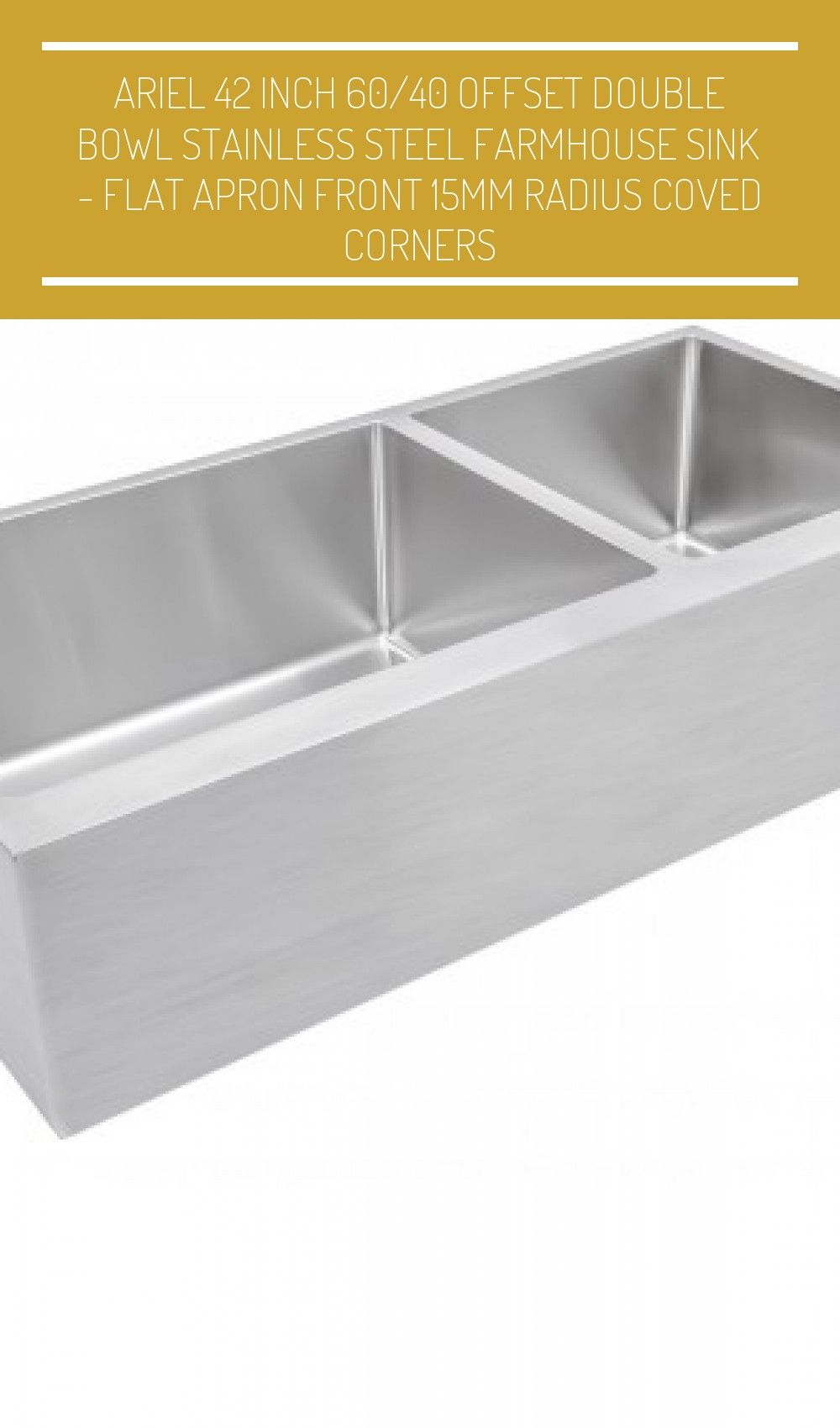 Ariel 42 Inch 60 40 Offset Double Bowl Farmhouse Apron Front Stainless S Farmhouse Sink Stainless Steel Farmhouse Sink Apron Front Stainless Steel Kitchen Sink