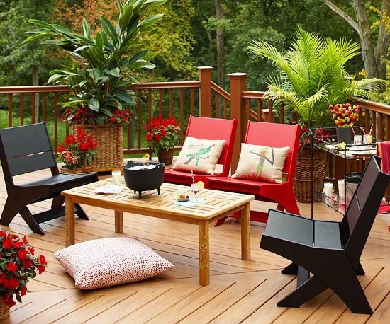Use Large Pillows for Seating Add seating without taking up a lot of space by arranging large floor pillows in addition to or in place of deck chairs around a table. Using pillows for seating on small decks creates a more intimate and comfortable space for outdoor entertaining, and they're super easy to rearrange or remove if you decide you need more room