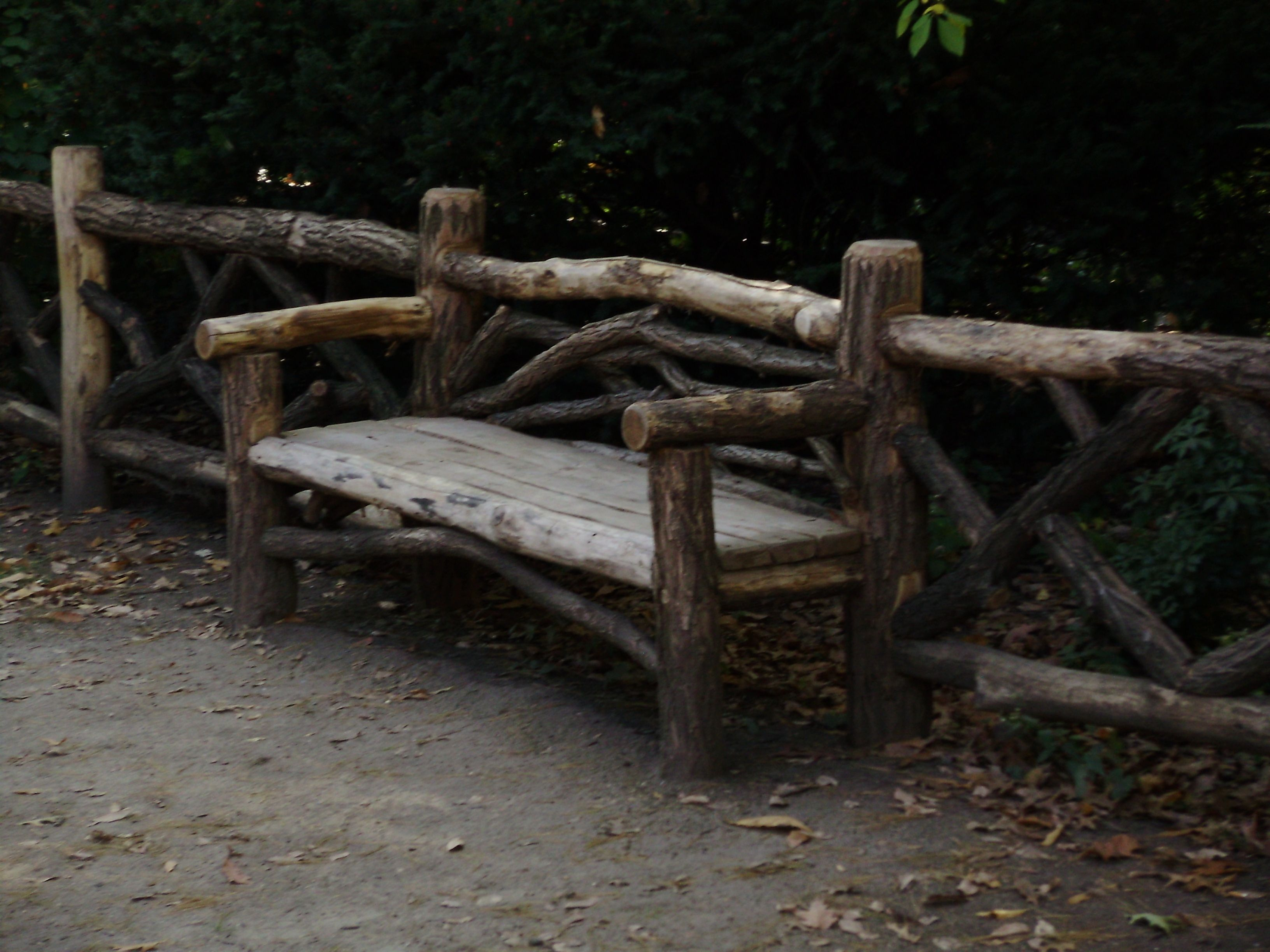 Unique Park Bench Made Out Of Twisted Tree Trunks Stock