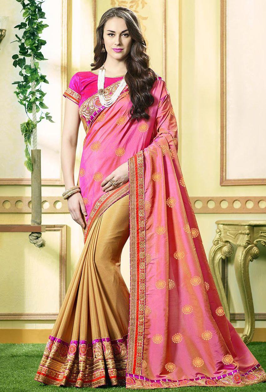 Pink,#Cream #Pure Jacquard,Chinon #Georgette #Party #Wear Designer ...
