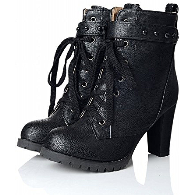 Women's Fashion Lace Up High Heel Platform Chukka Boots