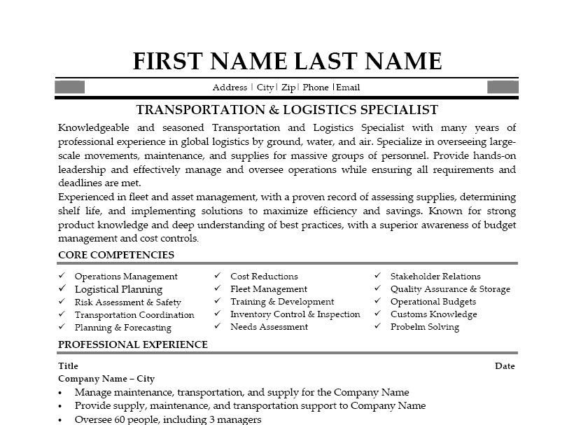 Click Here to Download this Transportation \ Logistics Specialist - logistics manager resume