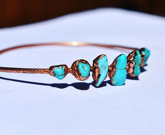 Copper Turquoise Nugget Bracelet Bangle Artisan