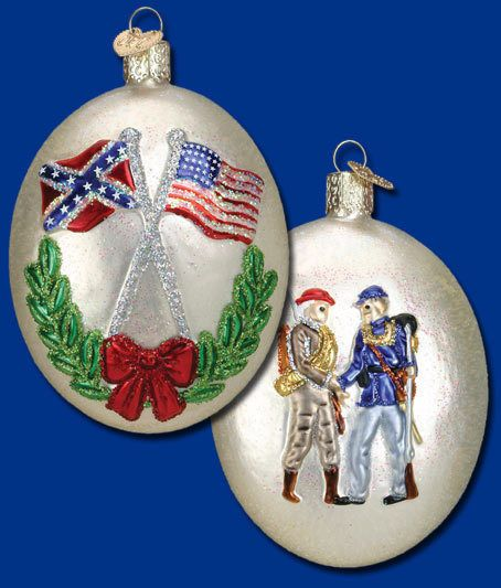 Civil War Commemorative Ornament Glass Old World Christmas 36155 6 ...