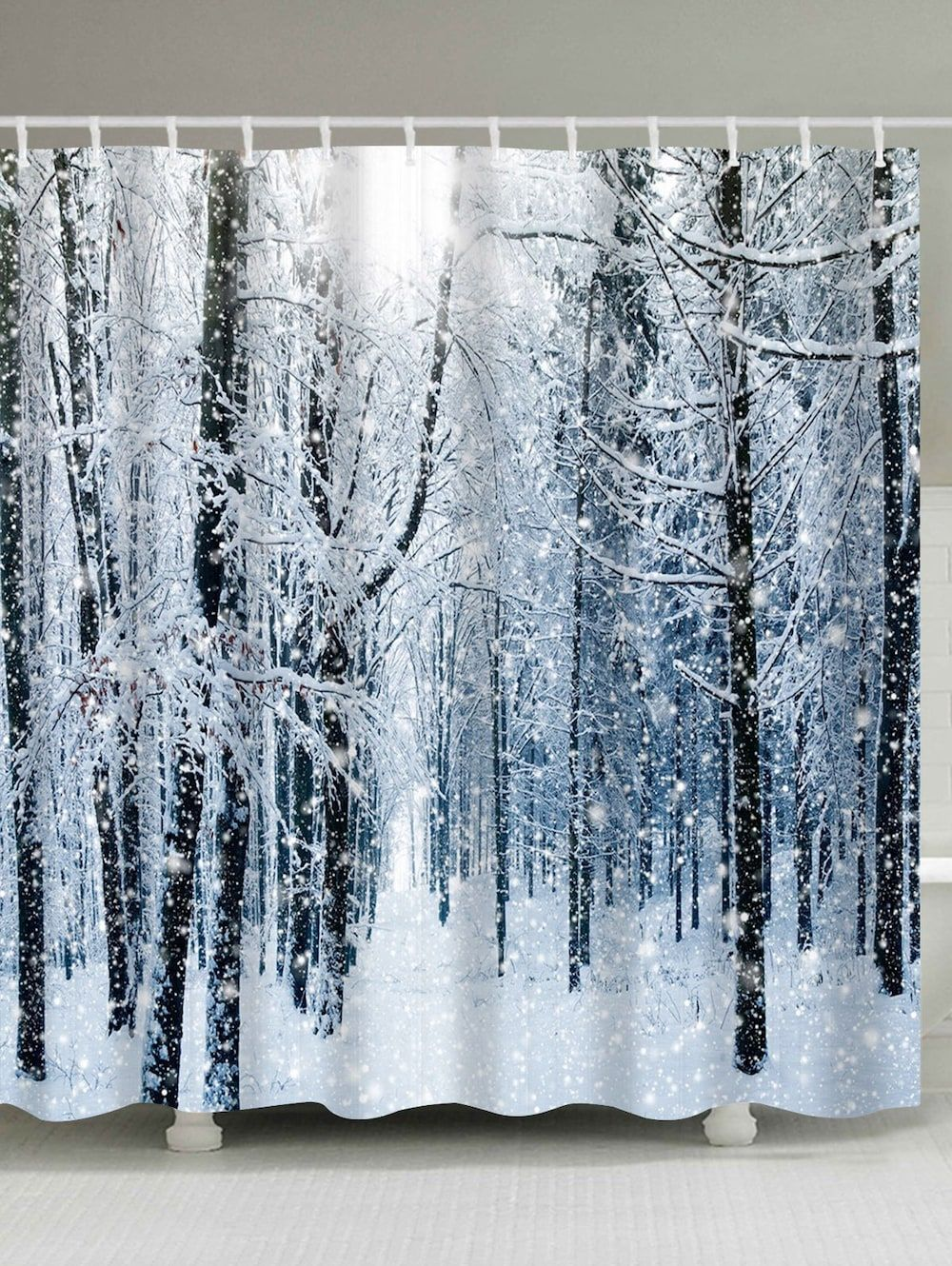 Christmas Snow Forest Print Waterproof Bath Curtain Christmas
