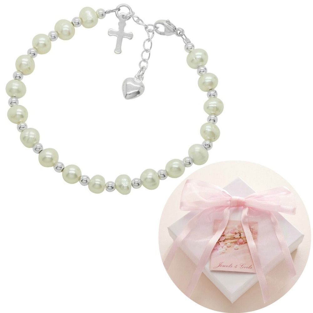 Freshwater Pearl and Silver Communion Bracelet, Size Adjustable. Gift Boxed with Card and FREE UK delivery. www.jewels4girls.net
