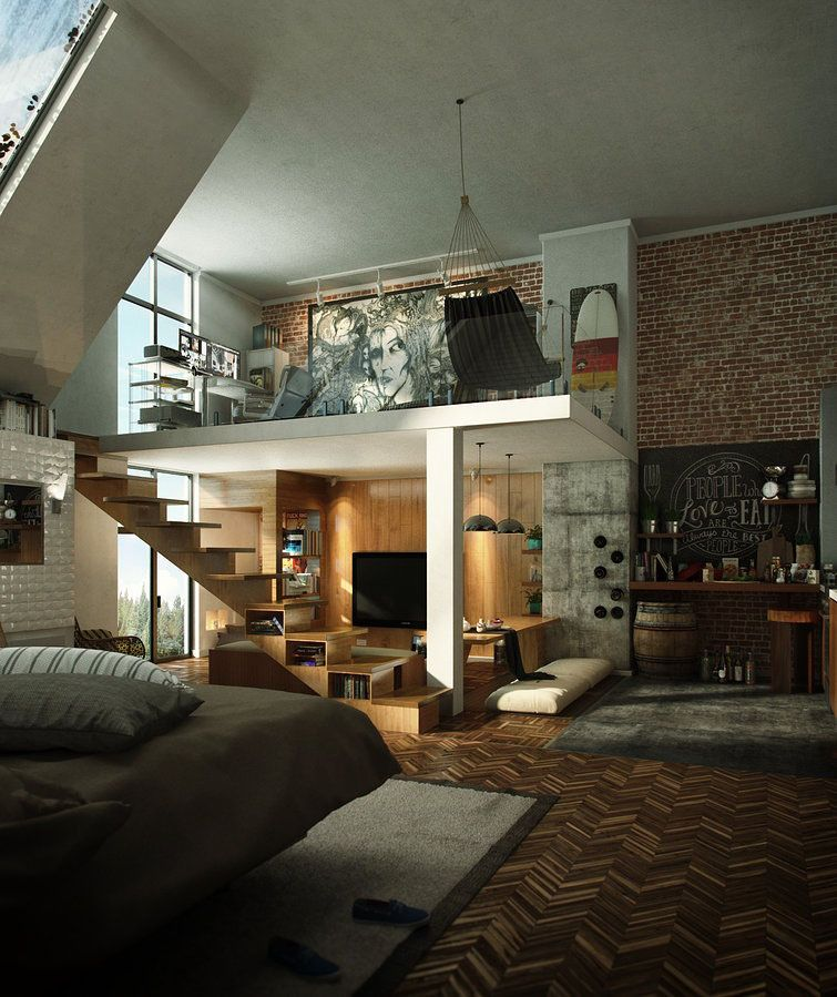 Compact Loft Apartment With High Ceiling Creates Extra Work Space