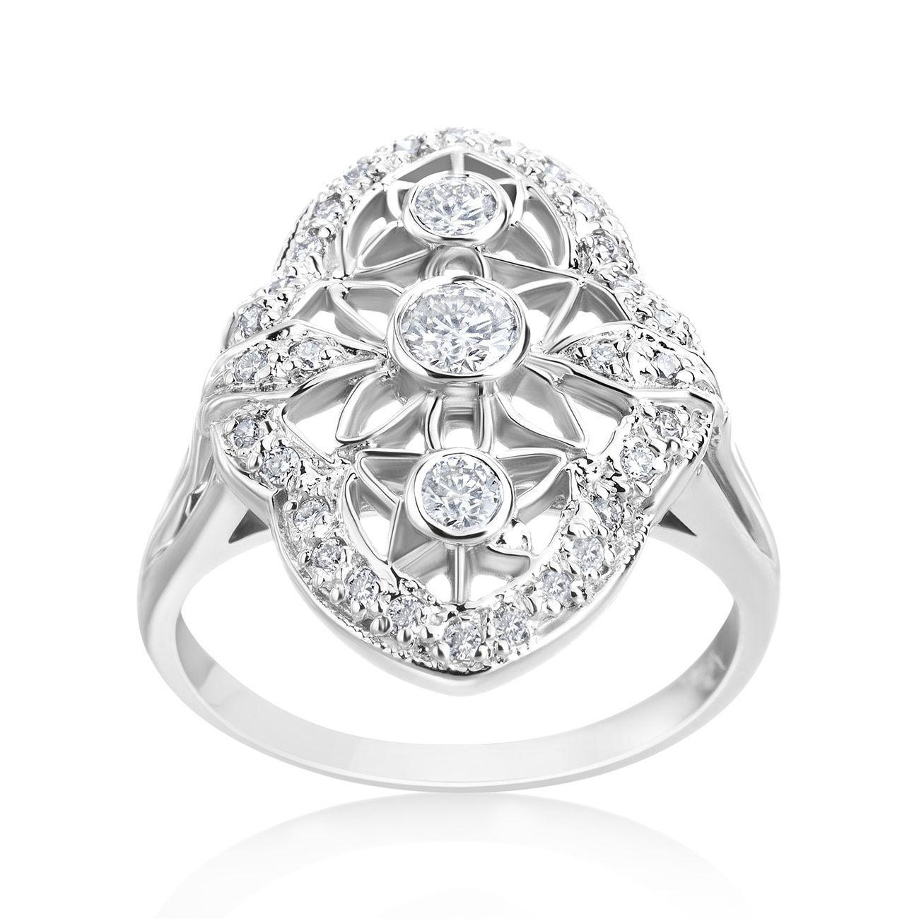 SummerRose 14k White Gold 1/2ct TDW Diamond Vintage Ring ...