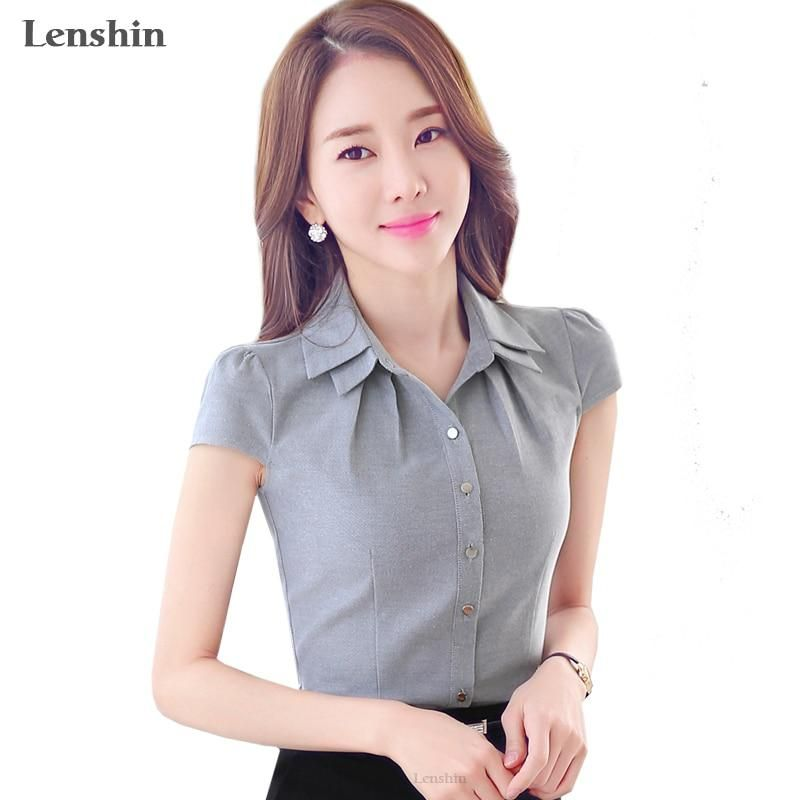 d42d6c1f0615 Lenshin Cotton Shirt Casual Style New Fashion Short Sleeve Gray Blouse Tops  Women Summer Wear Office Ladies. Yesterday s price  US  16.90 (14.73 EUR).