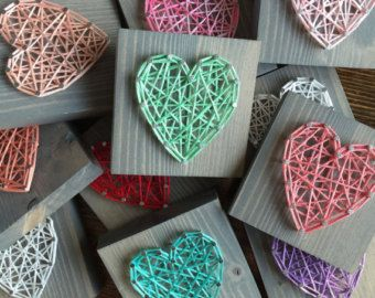 READY TO STRING | Made to Order | 4-Pack of Miniest of Mini Heart Gray Stain Signs