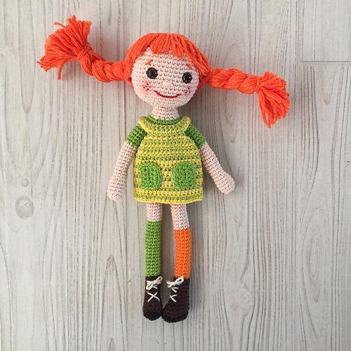 Freie Häkelanleitung für superniedliche Pippi-Langstrumpf-Puppe ...