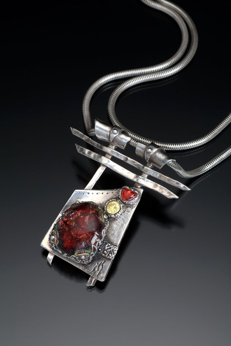 "Contemporary Jewelry - ""portal "" Original Art Julie Beucherie Bright Shiny Objects"