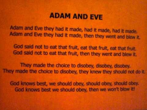 Children S Ministry Adam And Eve Song Youtube With Images