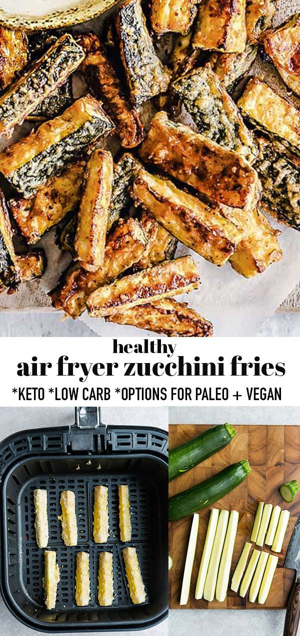 Air Fryer Zucchini Fries Crispy Low Carb Keto Snack in