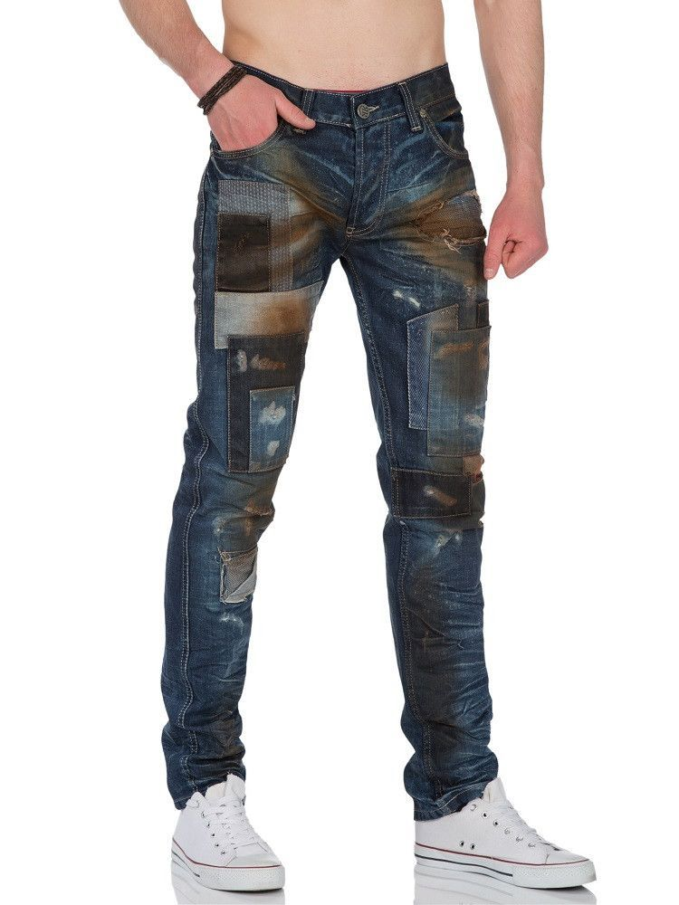 R&R Men Slim Fit Dirty Destroyed Jeans Patches - Dark Blue ...
