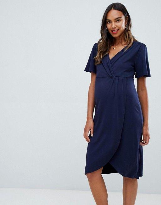 e21bf8384f3 Mamalicious maternity short sleeve midi wrap dress in navy | Fashion |  Dresses, Maternity dresses, Navy midi dress
