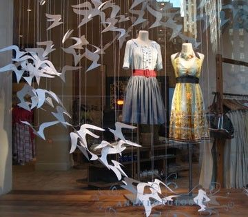 Anthropologie window display shop-window-displays    Maybe have paper shapes around your items