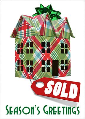 Real estate greeting card sold glossy white 1931 holiday close sales with this real estate holiday greeting card that features a sold home colored in m4hsunfo