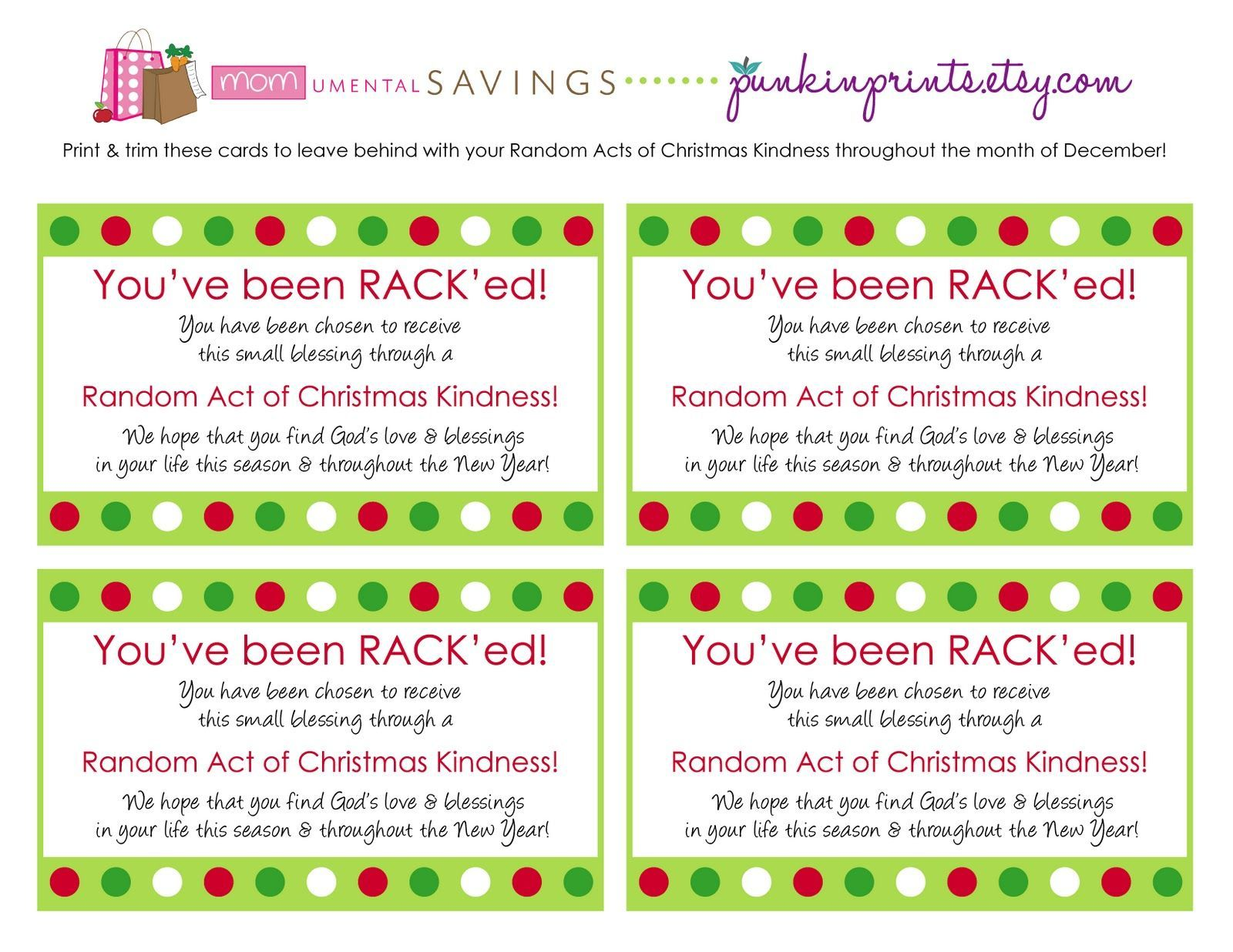 Random Act Of Christmas Kindness Cards Get The Rack D Pertaining To Random Acts Of Kindness Cards Templates Best Random Act Random Acts Of Kindness Acting