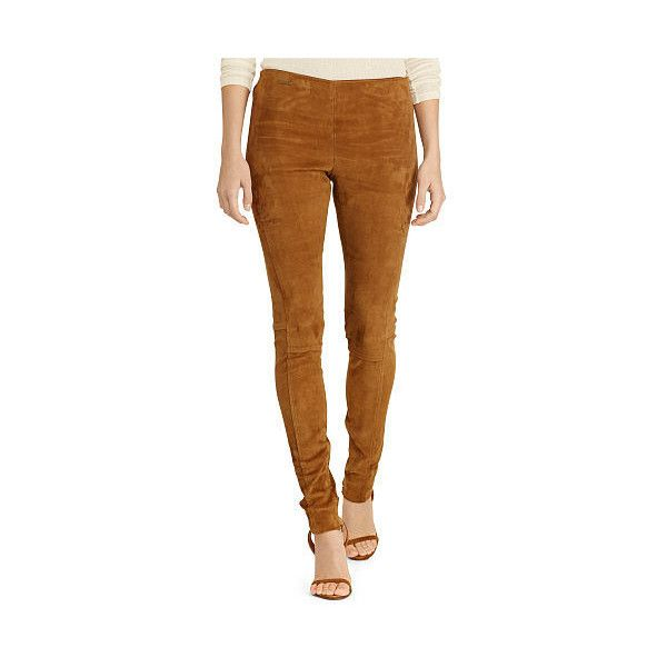 Polo Ralph Lauren Stretch Suede Skinny Pant featuring polyvore women's  fashion clothing pants suede skinny pants