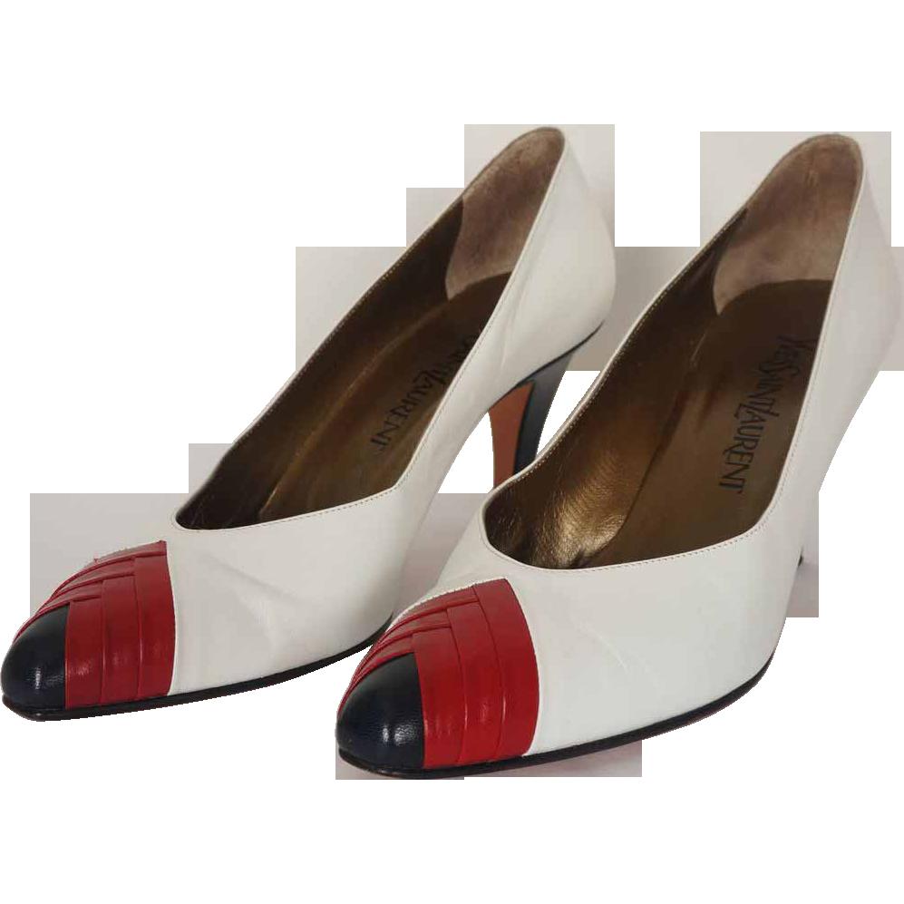 25097cc00e999 Vintage Yves Saint Laurent Red White Blue Shoes Pumps Size 7 M YSL w ...