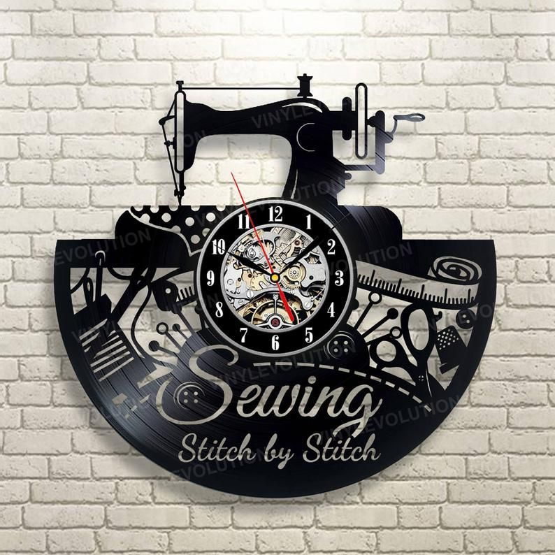 Sewing Wall Clock Wall Decor Handmade Role Women Men Art Etsy With Images Wall Clock Gift Embroidery Patterns Vintage Clock