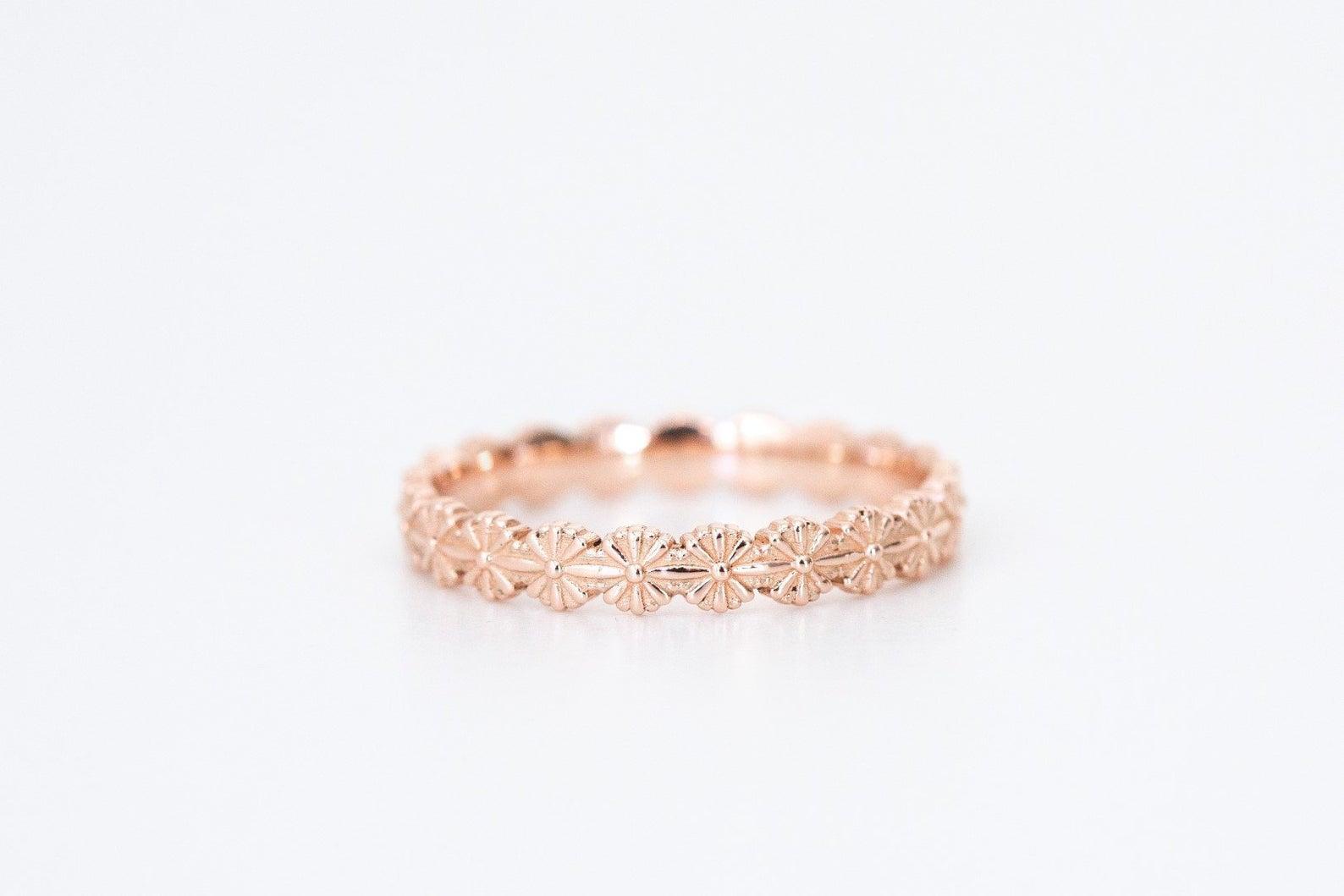 Daisy Eternity Wedding Ring Delicate Wedding Ring Rose Gold Ring Yellow Gold Ring Unique Wedding Ring Flower Wedding Band Gift For Her Wedding Rings Unique Delicate Wedding Ring Wedding Rings