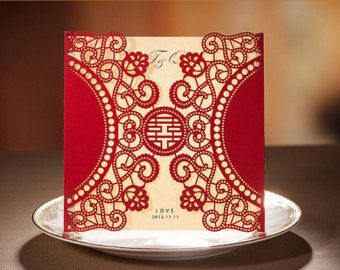 50 Printable Wedding Invitation Cards; Red Lace Wedding Invitation
