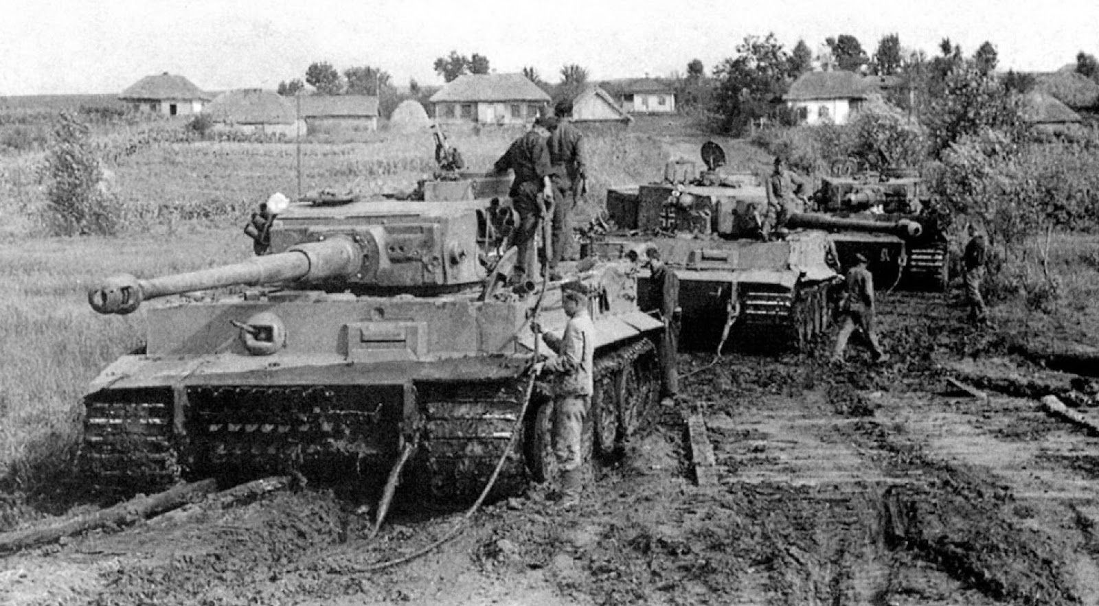 The formidable Tiger 1, perhaps the most famous tank of WW2, made its combat debut near Leningrad in late 1942, in time for the mud (as here), to which it was ill suited because of its weight.  Mounting the deadly 88mm gun and heavily armoured, it was a fearsome opponent to all allied armour for the rest of the war.
