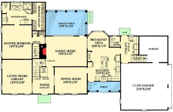 Two Story 4 Bedroom Cape Cod Home with Gambrel Roof Floor Plan