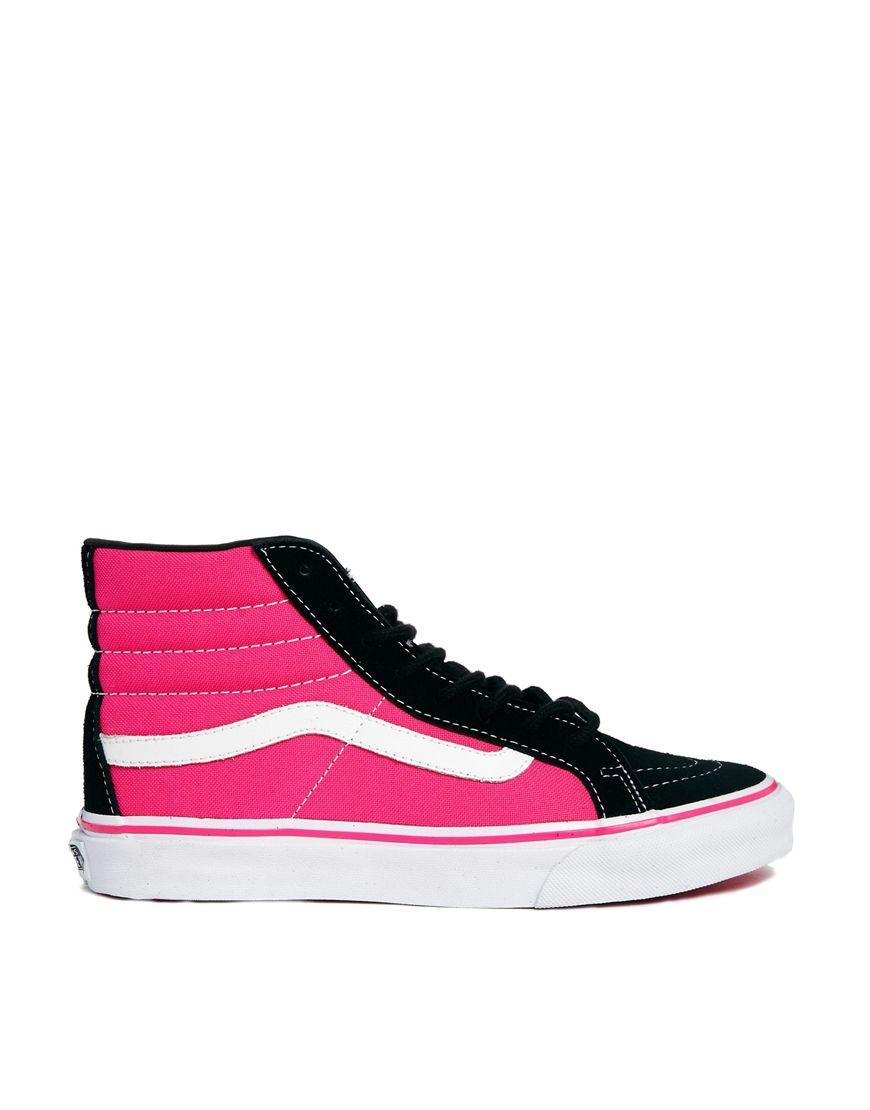 7b52a92a0dfb63 Vans SK8-Hi Slim Black Pink Trainers