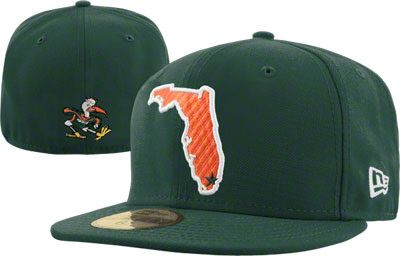 separation shoes 202e8 a3449 Miami Hurricanes Dark Green New Era 59FIFTY FLA Fitted Hat