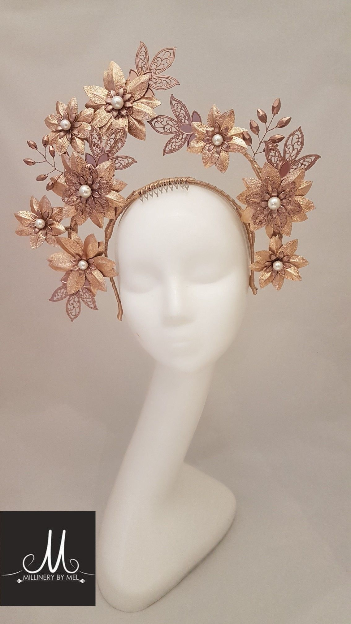 Millinery By Mel design Rose gold leather and embellished crown   millinerybymel 5dbeebd1a3c