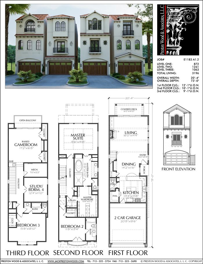 Townhouse plan e1183 a1 2 town homes pinterest Townhouse plans with garage