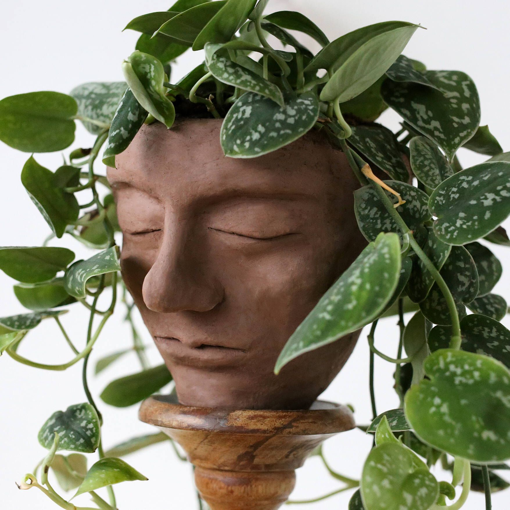 Large Clay Head Plant Pot Serene Handmade Face Planter In