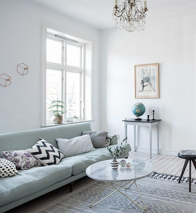 Mint Green Sofa In A Light Home Coco Lapine Design Green Living Room Decor Green Couch Living Room Green Sofa Living Room