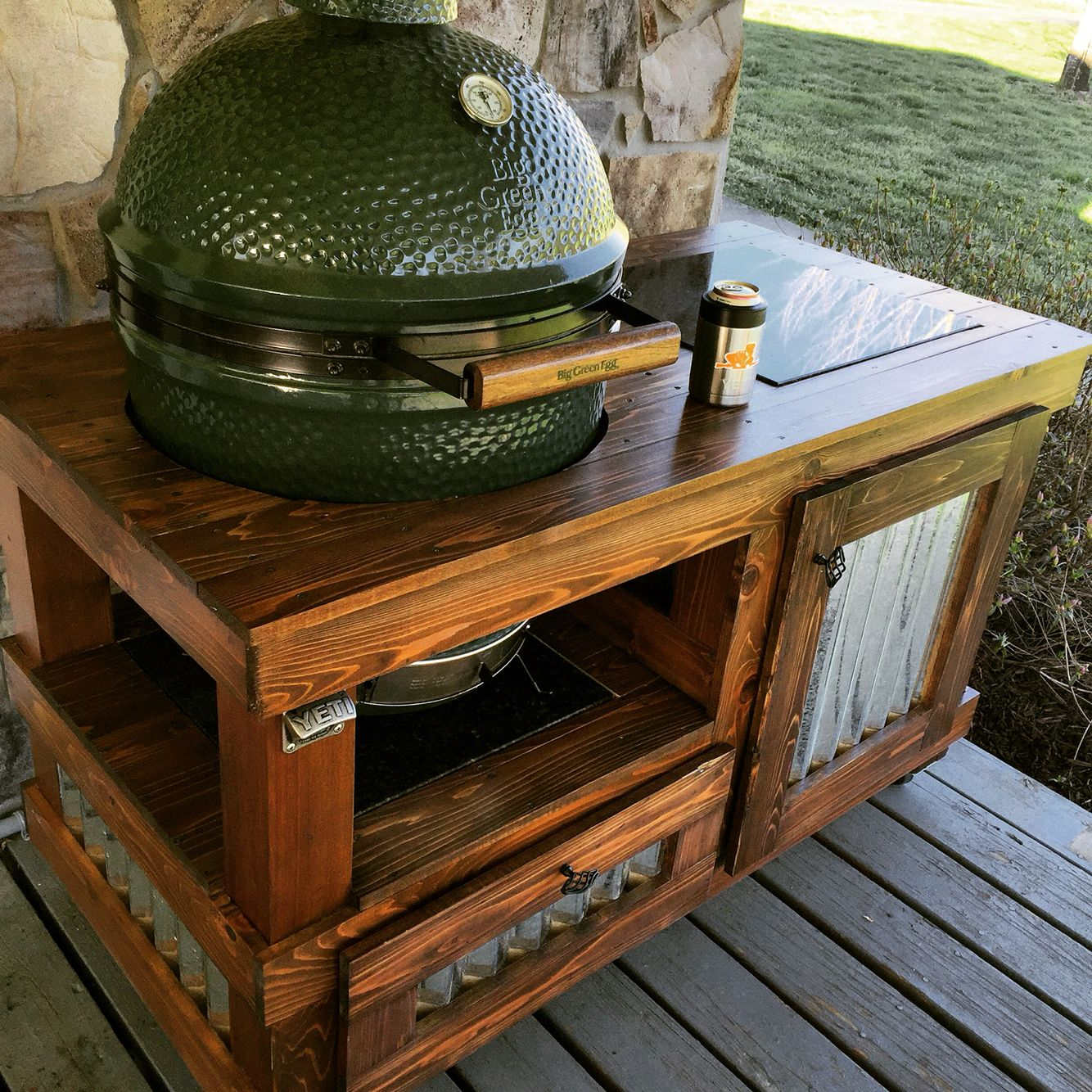 Large Big Green Egg Table. Western Red, Minwax Special Walnut, Helmsman  Satin Spar Varnish, Uba Tuba Granite And Corrugated Metal.