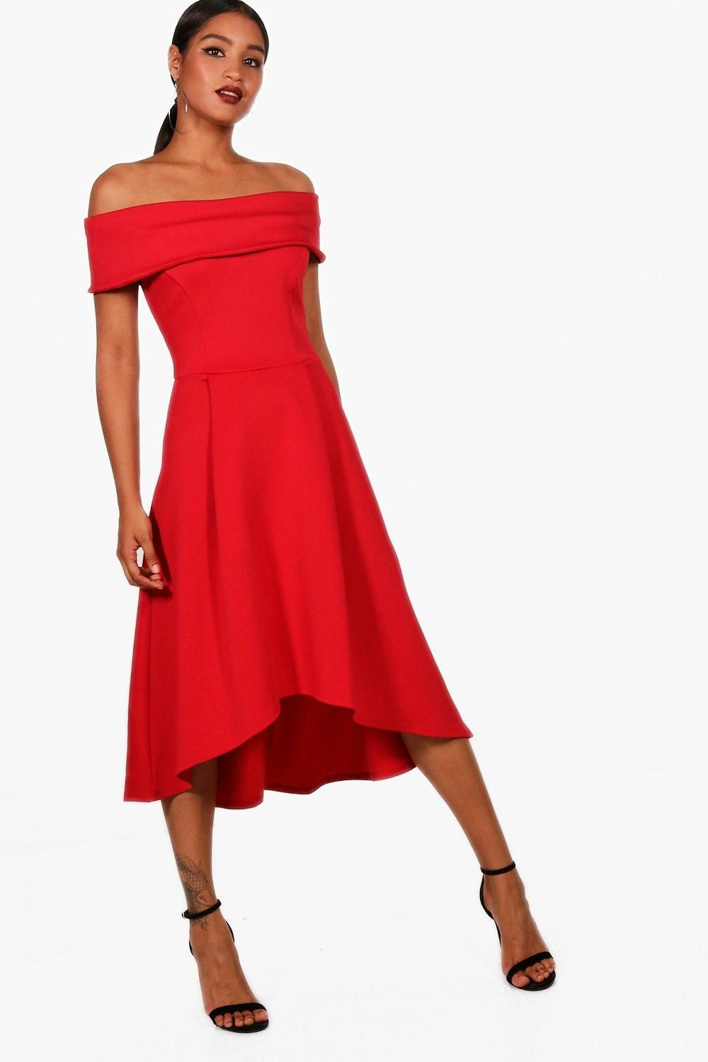 56a803c583 Click here to find out about the Rella Off The Shoulder Dip Hem Skater Dress  from Boohoo