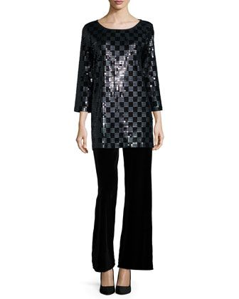 2de9dc0f 3/4-Sleeve Square Sequined Tunic & Velvet Wide-Leg Pants, Women\'s by Joan  Vass at Neiman Marcus.