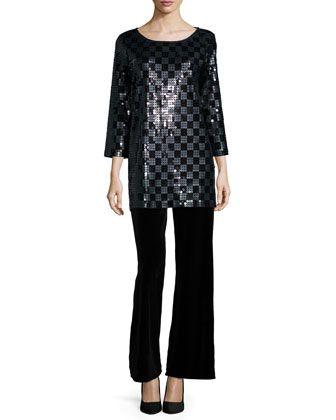 2de9dc0f 3/4-Sleeve Square Sequined Tunic & Velvet Wide-Leg Pants, Women\'s by Joan  Vass at Neiman Marcus.