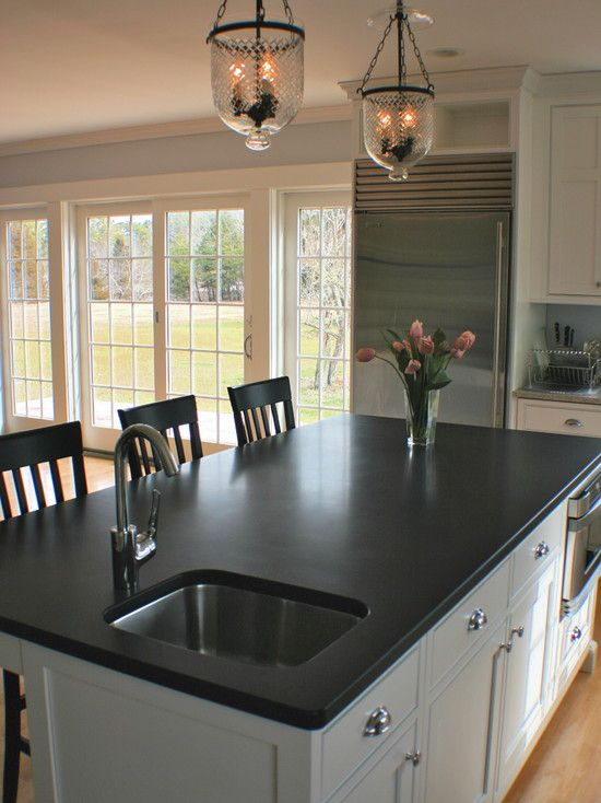 Kitchen Honed Absolute Black Granite Design, Pictures ... on Black Granite Countertops Kitchen  id=63664